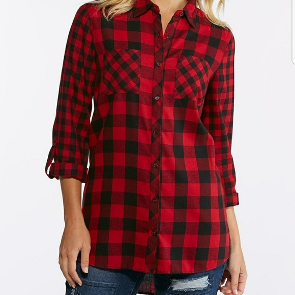 14438dd1 Cato Tops | Red Black Buffalo Plaid Button Down Highlow Top | Poshmark
